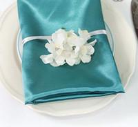 Wholesale 50pcs Teal Blue Square quot cm Satin Dinner Napkins or Handkerchiefs Wedding New Table Serviettes