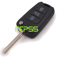 Wholesale New Uncut Keyless Entry Flip Remote Key Case Shell Cover BUTTONS For KIA SORENTO SPORTAGE CERATO RIO Logo Included Black Color
