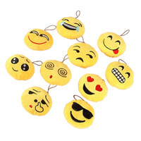 Wholesale 10Pcs Fashion Emoji Emoticon Smiley Face Soft Toy Keychain Bag Holder Pendant Key Chain Keyring For Women Men Kinds
