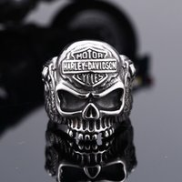 Wholesale BIG skull motocyle ring stainless steel biker punk fashion band rings hip hop jewelry for