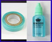 achat en gros de colles d'extension de cheveux-1 bouteille 30ml démaquillant adhésif pour les cheveux de bande de peau / PU extensions de cheveux de trame de peau et la colle bleue de bande