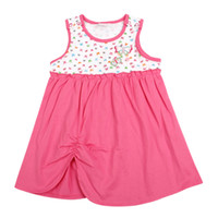 Wholesale Ms classic hot pink wave point splicing sleeveless dress baby clothes