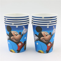 Wholesale Happy Birthday Party Mickey Cups Baby Shower Decoration Paper Glass Kids Favors Cartoon Supplies Tableware
