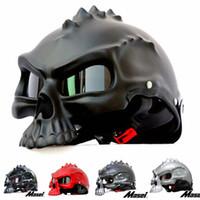 Wholesale 14 color Dual Use Skull Motorcycle Helmet Capacete Casco Novelty Retro Casque Motorbike Half Face Helmet