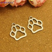 antique printing plates - High Quality Pieces mm mm Antique Silver Or Antique Bronze Plated Hollow Out Dog Paw Print Charms