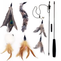Wholesale 33 quot Cat Feather Toy Wand Multi Feather Refill with Bell Teaser and Exerciser For Cat and Kitten Kitty Toy Interactive Cat toy