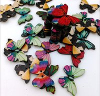 Wholesale Butterfly wooden button retro environmental manual dedicated mm one pack