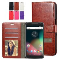 cartes à jouer achat en gros de-Retro Crazy Horse Leather Stand Wallet Flip Case Porte-cartes Photo Frame Slot pour Motorola Moto Z G4 Plus X Play G5 SONY XA1 XZ Premium XZs
