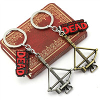 antique crossbow - 10pcs Movie Series The Walking Dead Keychain Crossbow And Letter Pendant Fashion Keyring Bronze Silver Souvenir HC11435