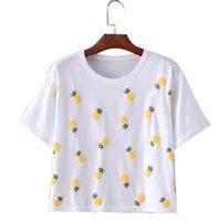 Acheter Shirt de douille d'impression des animaux gros-Grossiste- XYY79 American 2016 Mode Femmes Eté École Sweet Pineapple Imprimé T-shirt à manches courtes O-Neck Loose Casual Tops T-shirt