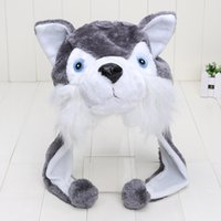 anime animal hats - Retail Husky Hat Animal Cartoon Wolf Cap Gift gray Earflap with Pom Poms BLUE EYES