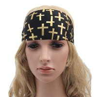 Wholesale Women headband Hair accessories Girl Bohemia band print cross headbands colors Wide Sports elastic bands for Yoga hotsale European
