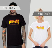 Wholesale 2016 Thrasher Flame Logo T Shirt Xs Xxxl Thrasher T Shirt Men Wome Flame Blaze Thrasher T shirts Palace Skateboard Magazine Hip Hop T shirt