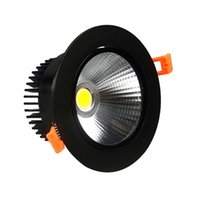 aluminum trims - Led down lights dimmable LED recessed downlight black trim w w W W COB LED Ceiling spotlight lamp nature warm cool white v