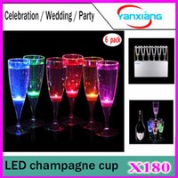 Wholesale 6Pcs Liquid Active Led Champagne Drinking Glass Led Flash Champagne Cup Led Flash Cups Led Party Glasses Drink Cup For Bars YX XB