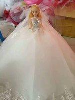 Wholesale 2017 Year D big barbie doll dress skirt trailing wedding dress fashion true princess bride girl eye children s birthday gift toys