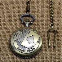 Wholesale Poker Pattern Watch Vintage Style Bronze Steampunk Pendant Chain Clock Quartz Pocket Watch P80C