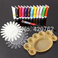 art pallets - BTT Professional Colours D Manicures Set Nail Art Paint Brush Pen Pallet Tool Acrylic Nail Kit Sets