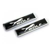 automobile logos emblems - 58x14mm Automobile Accessories Car Styling Side Doors Stickers With WOLF ABT Sline JP Ralliart Racing Logo Sticker Badge Emblem