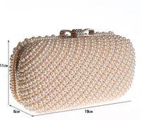 Venta al por mayor- diamante bowknot anillos embragues bolsas mujeres bolsa de embrague de noche bolsos de señora bolsas de fiesta Full Sided perla Beaded bolsas 13t