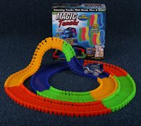 Wholesale Christmas Magic Tracks Bend Flex and Glow Racetrack with Feet Piece Glow In the Dark Track Magic Track Car Toys For Children Play