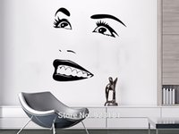 Plastic refrigerator art - sticker name Face Eyes View Smile Girl Woman Art Stickers Decal Home DIY Decoration Wall Mural Removable Bedroom Decor Wall Stickers