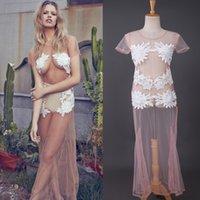 Wholesale Spring Autumn Summer Bohemia Hollow Out Elegant White Lace Party Dress Women Casual Dresses Vestidos
