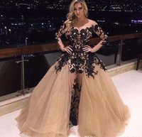 Wholesale Champagne Off Shoulder Prom Dress Gorgeous Detachable Train Black Lace Applique Long Sleeve Party Dress Plus Size Mermaid Evening Gowns