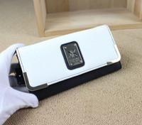 Kardashian kollection KK double boucle noire portefeuilles de femmes blanches avec boîte de cadeau embrayage bourses femme de marque porte-monnaie Portefeuille de la femme