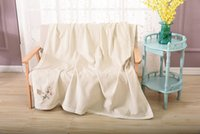 Wholesale High End Beige Ivory Soft And Warm Silk fiber Sofa Blanket For Living Room Bedspread Breathable Moisture Permeability