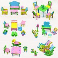 Wholesale New DIY Children EVA Handmade Creative Furniture D Model Puzzles Kindergarten Building Game Baby Kids Educational Toys Gifts