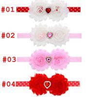 al por mayor arcos del pelo valentines-Bebé INS corazón de amor corazón cinta de color rosa rojo bebé preemie headbands bebé pelo arcos pelo arcos día de San Valentín diadema 4styles