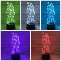 bedroom night stand - The Colorful Standing Iron Man D Lamp LED Night Light Touch Switch Acrylic Visual Illusion Nightlight Bedroom Decorative zp