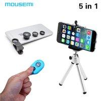 aluminum phone len - New in1Camera Lens Kit Fisheye Len Wide Angle Len Macro Len Aluminum Tripod Bluetooth shutter for iPhone Samgung Phone Holder
