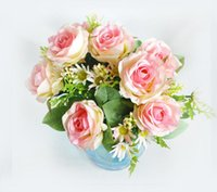 Wholesale Seven roses heads bouquet of artificial flower decoration fake flower simulation roses seven color to choose SF0210