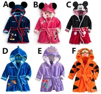 baby dry suit - Children s Pajamas Baby Boys Girls Cartoon Bathrobe Kids Hooded Bath Towel Robes Infant Toddler Bathing Suits Mickey Minnie Mouse Bathrobes