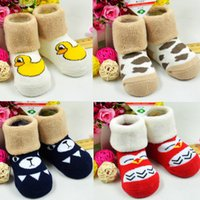 Wholesale Baby Childrens Socks Gift Box Prents Package Coral Fleece Silicone Plantar Slip Solid Cartoon Embroidery LegLot