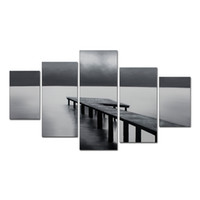 Wholesale Hand Paint Seascape Canvas Painting Pieces Canvas Art Wall Decoration Dark Bridge Oil Painting Ready to Hang