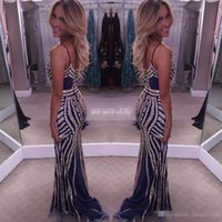 Wholesale Hot Sale Navy Long Evening Dresses Sparkly Beading Crystals Spaghetti Straps Backless Sheath Girls Occasion Gowns Long Party Prom Dress