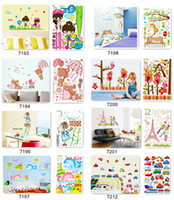 Wholesale One stop Purchase Mixed cartoon wall stickers collection for kids room decoration three size and hundreds of cartoon designs available
