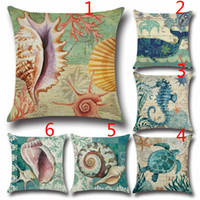 Wholesale Sea shells whale Seamaster hippocampi turtle retro style throw pillow case printed home car sofa couch cushion cover