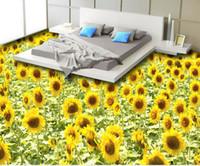 PVC beautiful bathroom tile - Custom any size D beautiful sunflower sunflower floor tiles wallpaper for bathroom waterproof