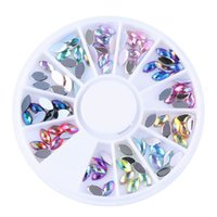 Wholesale Wheel HOT AB Colors Acrylic Oval Rhinestone Nail Art Decorations DIY Manicure Wheel Tips