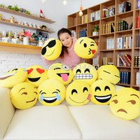 Wholesale Styles Soft Emoji Smiley Emoticon Yellow Round Cushion Pillow Stuffed Plush Toy Doll Christmas Present