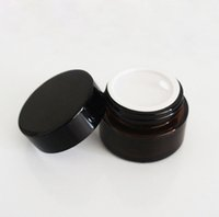 Wholesale 240pcs Cheap g brown amber glass cream jar with black lid gram cosmetic jar packing for sample eye cream bottle