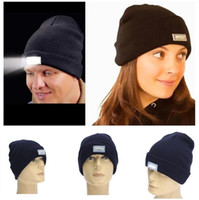 Wholesale Hot Colors LED light Beanies Hat Winter Hands Free Warm Beanie Angling Hunting Camping Running Caps