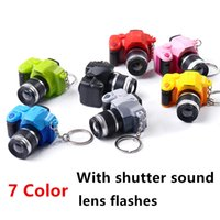 Wholesale 7 Color Lovely Digital Camera Figure Toys DIY Decoration Gift Key Chain Badge With sounds and Flash Kids Toy