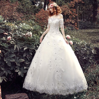 Wholesale 2016 Women Sexy Vintage Lace Wedding Dresses New Winter off shoulder Wedding Dresses with Rhinestones Slim Bridal Gowns Plus size