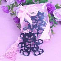 Wedding Figure Party Favor Wholesale-50 X Wholesale Cute Silver Teddy Bear Bookmark For Birthday Bridal Baby Shower Christening Wedding Gift Party Favor