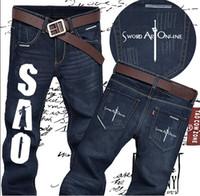 art jeans - high quality FTWL Anime Jeans Sword art Online Fashion Straight Men Jeans Men Pants